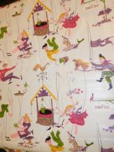 KANDELL DESIGN WASHABLE CHINTZ BOLT OF FABRIC. CHILDREN PLAYING. APP 39 1/2 FT X 3 FT