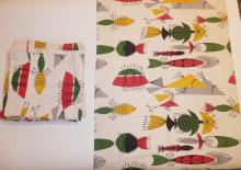 4 MID CENT CURTAIN PANELS  W/ SEMI ABSTRACT FISH DESIGN. APP 2 1/2 FT X 4 FT
