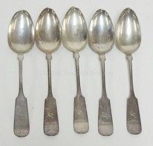 5 WALLACE STERLING SILVER TABLESPOONS. 8 IN,  7.58 T OZ  MONOGRAMMED
