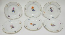 SET OF 6 ROYAL COPENHAGEN  10 IN  PLATES. ONE SCRATCH THROUGH THE MARKS, NO 493/1621. O IN ROYAL UNDERLINED.