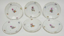 SET OF 6 ROYAL COPENHAGEN  8 1/2 IN  PLATES. ONE SCRATCH THROUGH THE MARKS. NO 493/1623. O IN ROYAL UNDERLINED