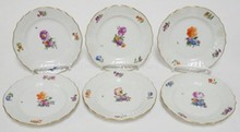 SET OF 6 ROYAL COPENHAGEN 6 1/8 IN PLATES. ONE SCRATCH THROUGH THE MARKS. NO 493/1626. O IN ROYAL UNDERLINED.