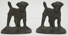 PAIR OF *SOLID BRONZE* DOG BOOKENDS. 5 1/4 IN WIDE, 5 1/2 IN H