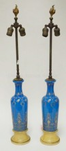 PAIR OF OPAQUE BLUE HAND PAINTED VASES MOUNTED AS LAMPS. 32 IN H