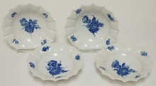 4 ROYAL COPENHAGEN BLUE AND WHITE FLORAL RUFFLED BOWLS. R IN DENMARK UNDERLINED. NO SCRATCHES IN THE MARKS. 6 1/2 IN