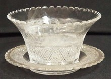 DEEP BRILLIANT CUT GLASS MAYONAISE BOWL W/ MATCHING UNDERPLATE. PLATE IS 6 IN DIA