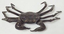 BRONZE CRAB. 3 LEGS REPAIRED WHERE THEY JOIN THE BODY. 8 1/2 IN WIDE
