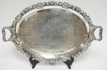 ENGLISH SILVER PLATED TRAY. 25 1/2 IN X 16 1/2 IN. RELIEF GRAPE AND LEAF BORDER