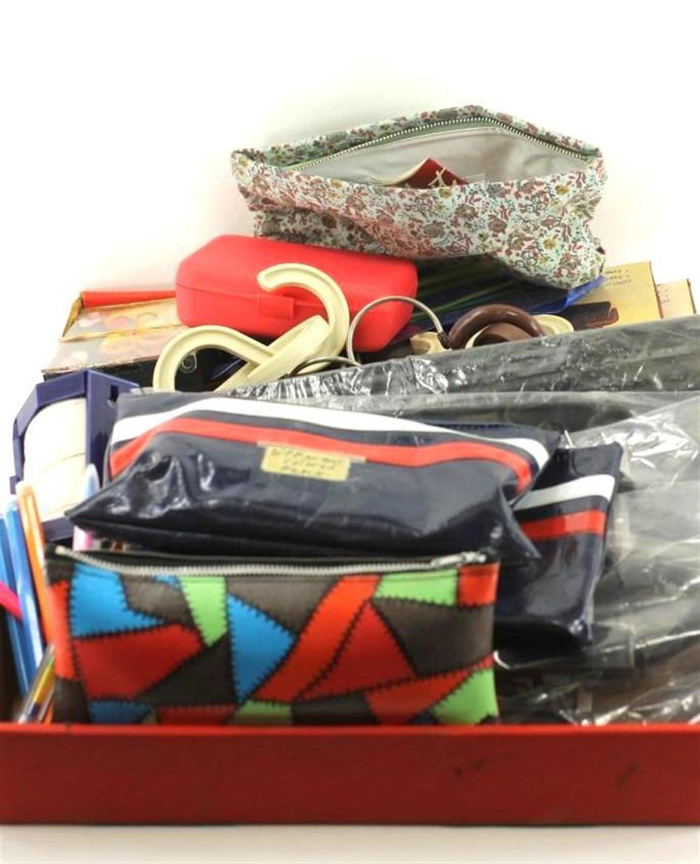 Misc Lot of Hooks, Pencil Cases, Sewing Kits, etc