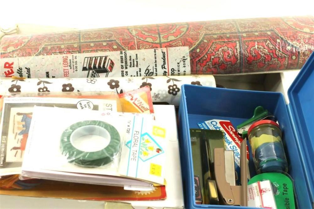 Mixed Lot incl Vintage Shelf Liners and Office Supplies