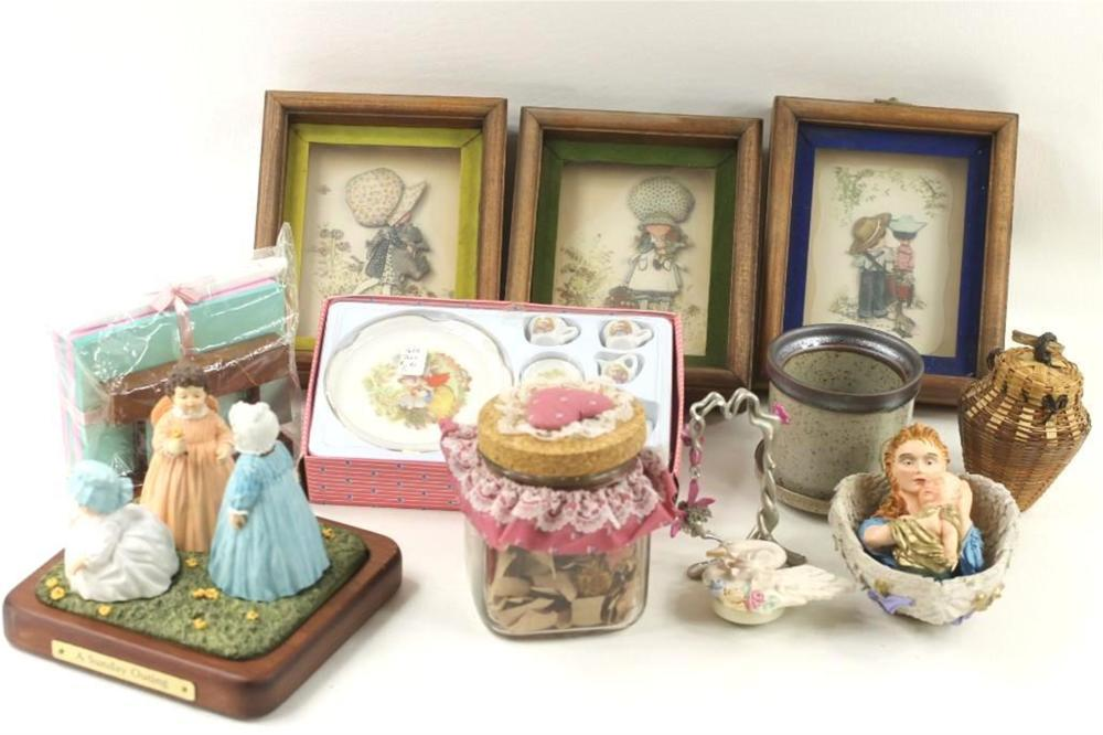 Lot of Home Decor incl Bonnet Girl Pictures, Figurines, etc