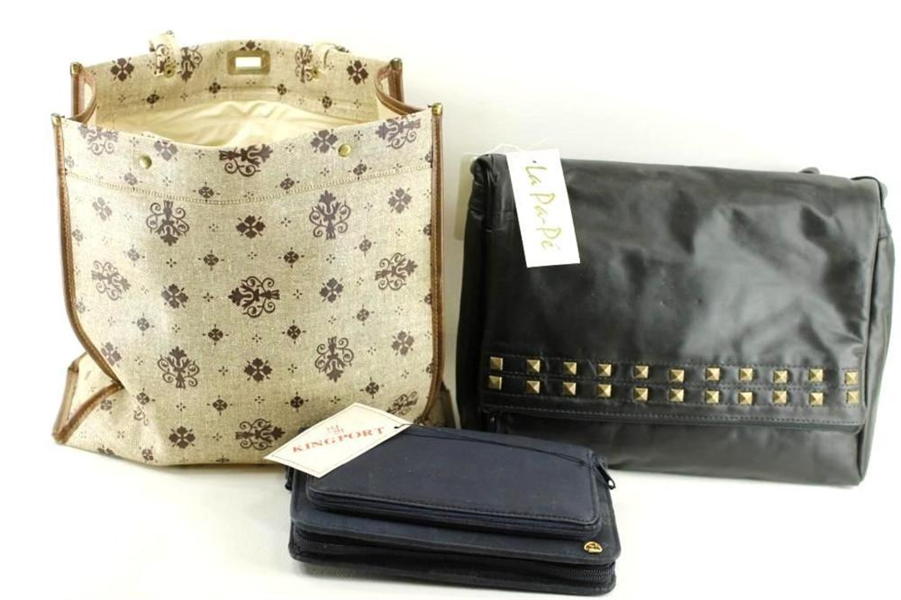 Bag Lot incl Black Leather Purse, Printed Bag, and a Blue Organizer
