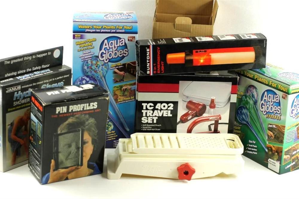 Lot of NIB Home Shopping Network Items incl Aqua Globes, Travel Set, Emergency Light, etc