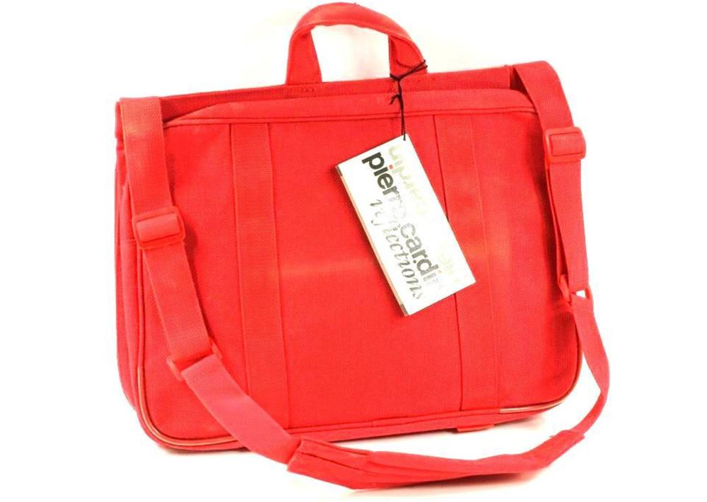 Pierre Cardin Computer Bag or Briefcase, Red Canvas, Has tag but is dusty