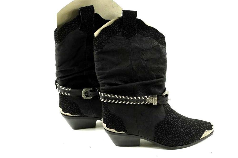 Black Women's Western Cowboy Boots, Sz 8 1/2M