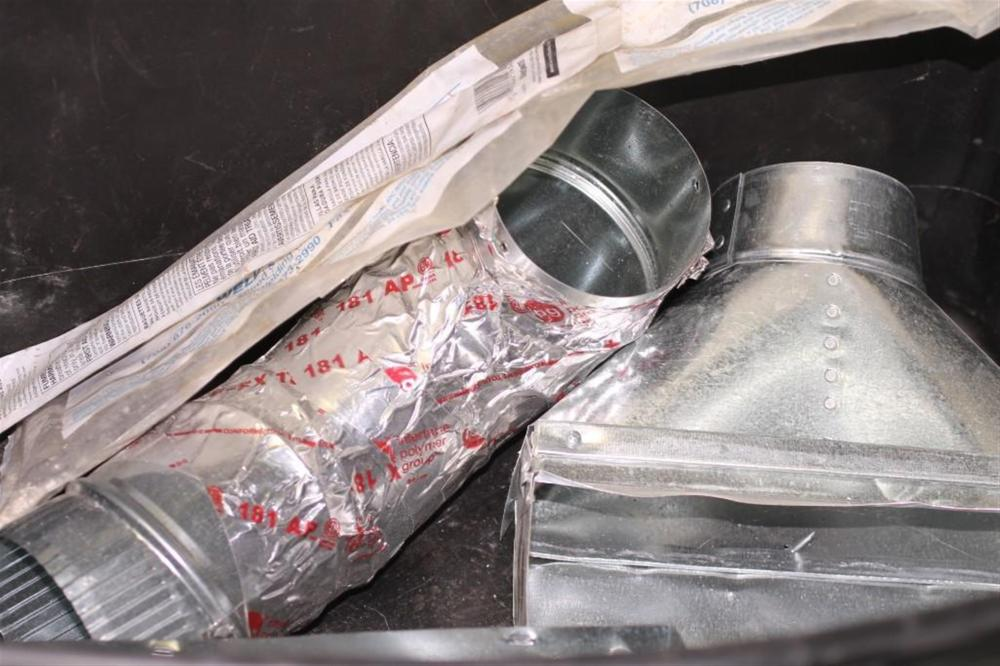 Air Duct Pieces, Welding Rods, and 2 Plastic Bins