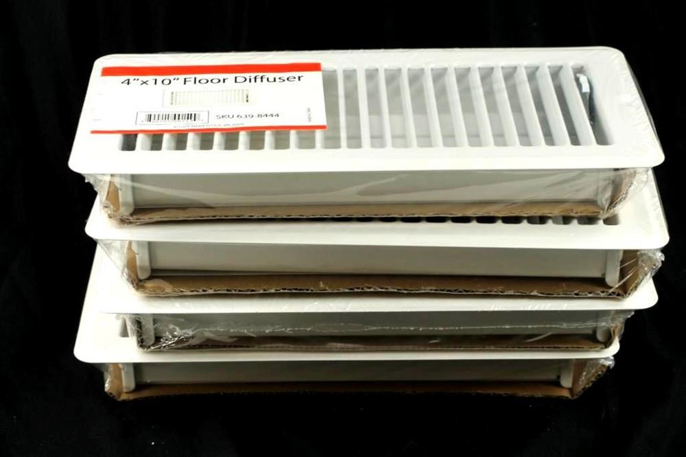 """Lot of 4 Floor Diffuser Vents 4""""x10"""", New in Package"""