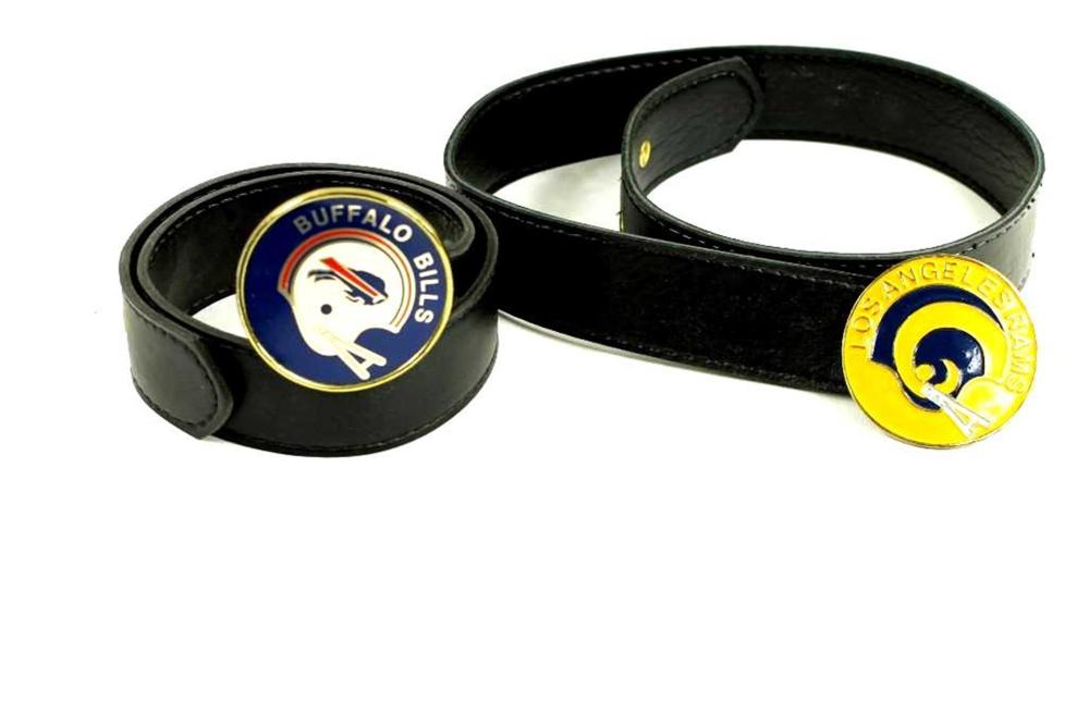 2 NFL Belts with Belt Buckles, Buffalo Bills and Los Angeles Rams