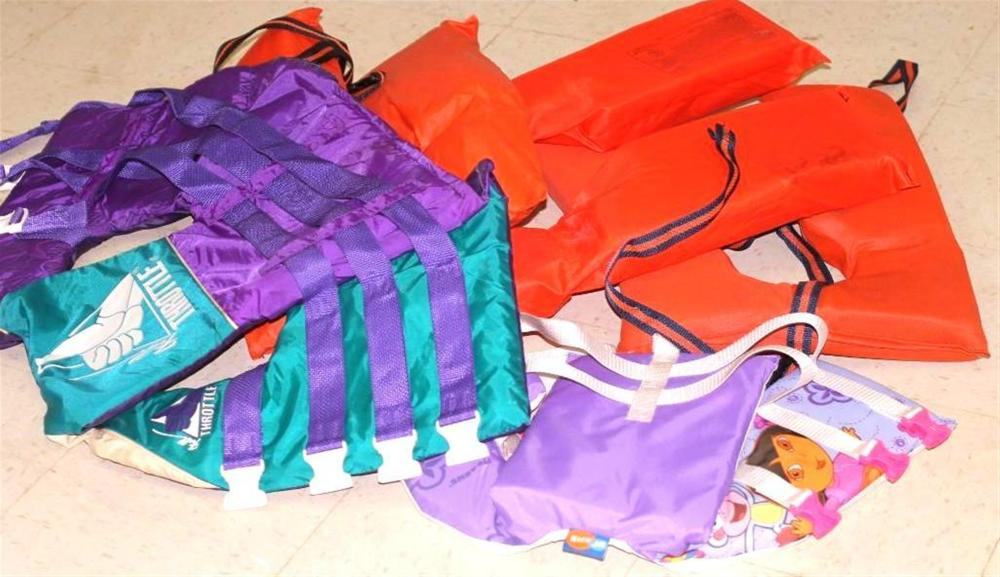 5 Life Jackets, One is a Child's Dora the Explorer