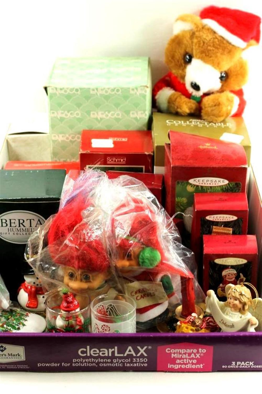 Lot of Christmas incl Hallmark Keepsake Ornaments, Berta Hummel, Christmas Trolls, etc