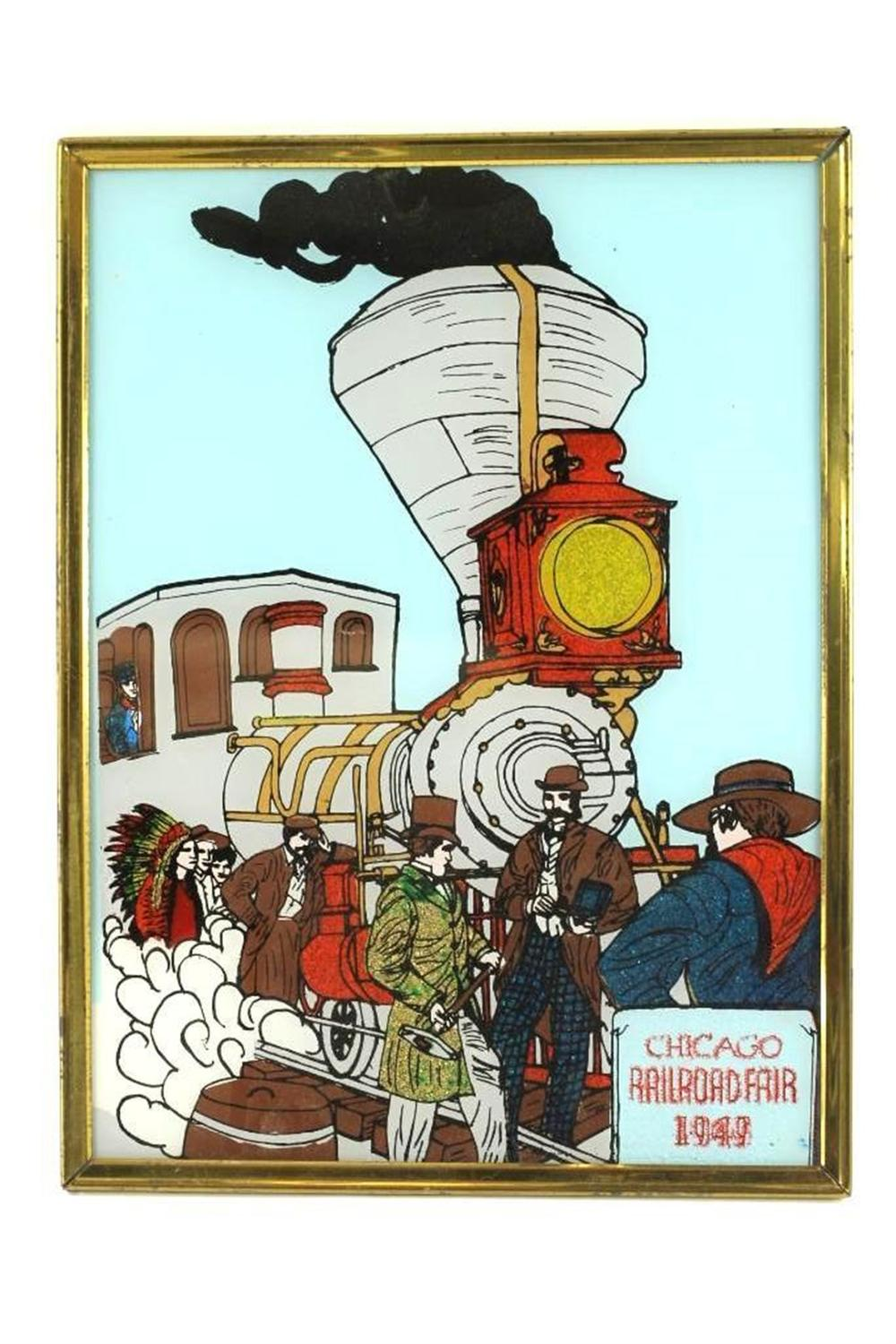 Framed Glass Train Picture Commemorating the Chicago Railroad Fair of 1949