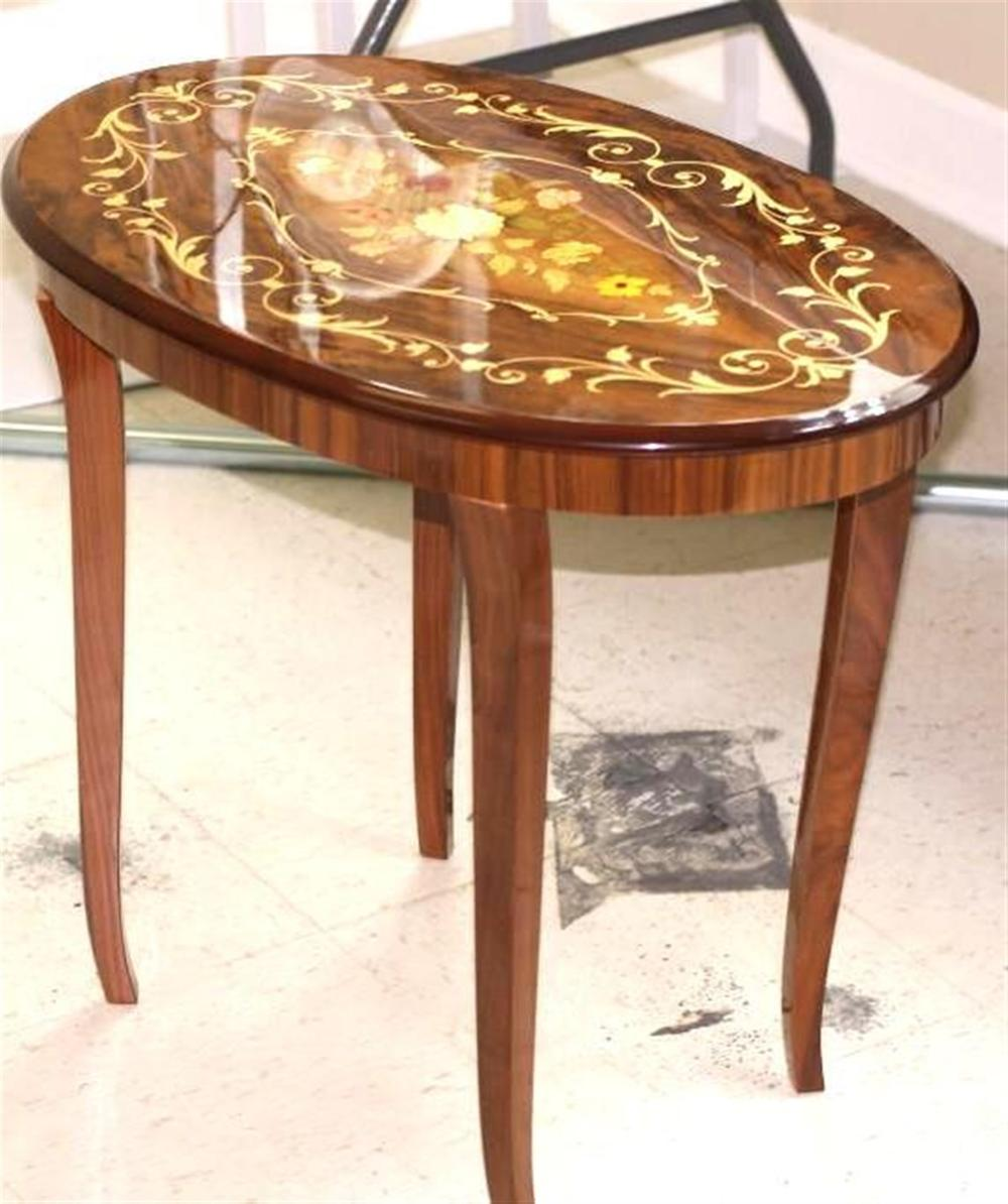 Oval End Table with Floral Design Inlay