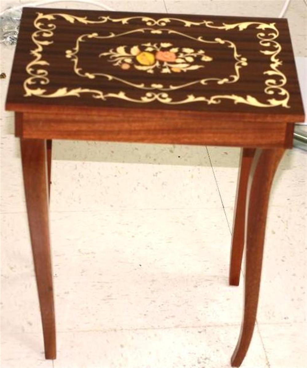 Storage Table with Floral Inlay Design and Music Box, Opens for Jewelry Storage