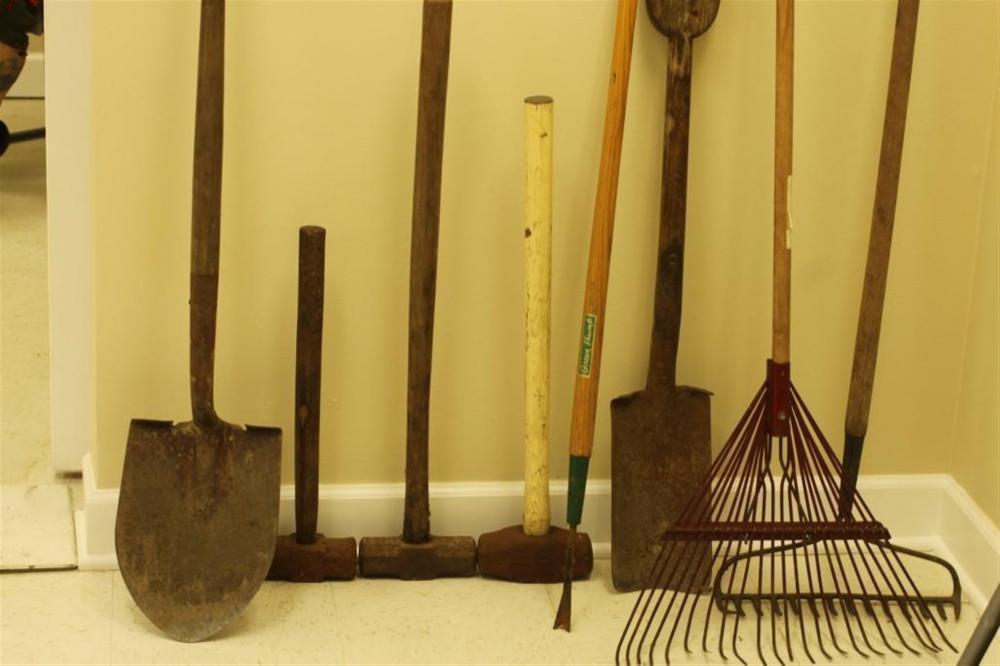 Lot of Vintage Yard Tools Incl Shovels, Rakes, Sledgehammers