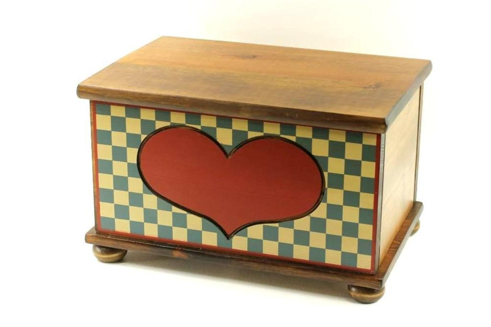 Wood Bread Box with Heart Design