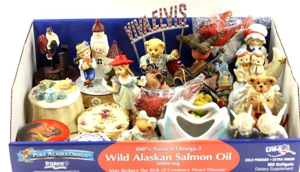 Lot of Figurines and Trinket Boxes incl Viva Elvis Bear