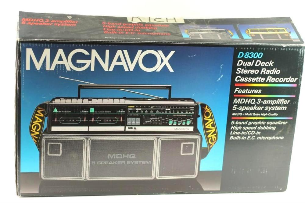 Magnavox D8300 Boombox Dual Deck Stereo Radio Cassette Recorder in Original Box and Packaging