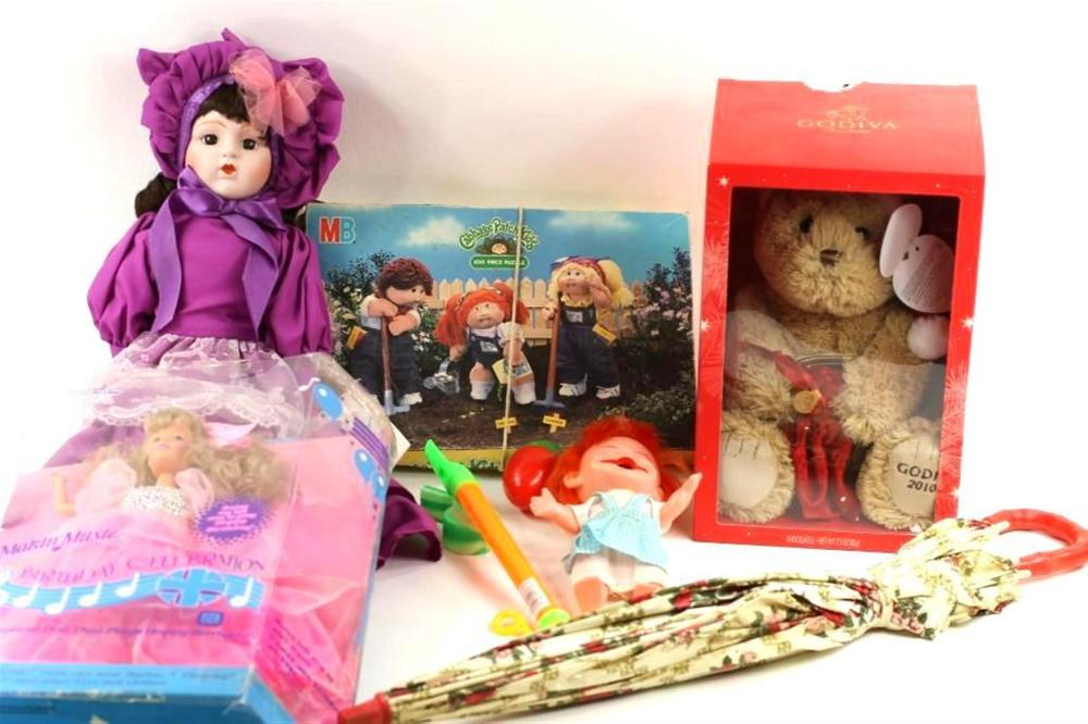 Toy Lot with Dolls, Cabbage Patch Kids Puzzle, Godiva Bear, Etc