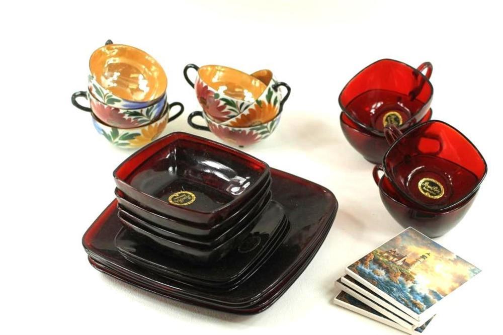 Anchor Glass Royal Ruby, Lustreware Cups, and 4 Thomas Kinkade Coasters