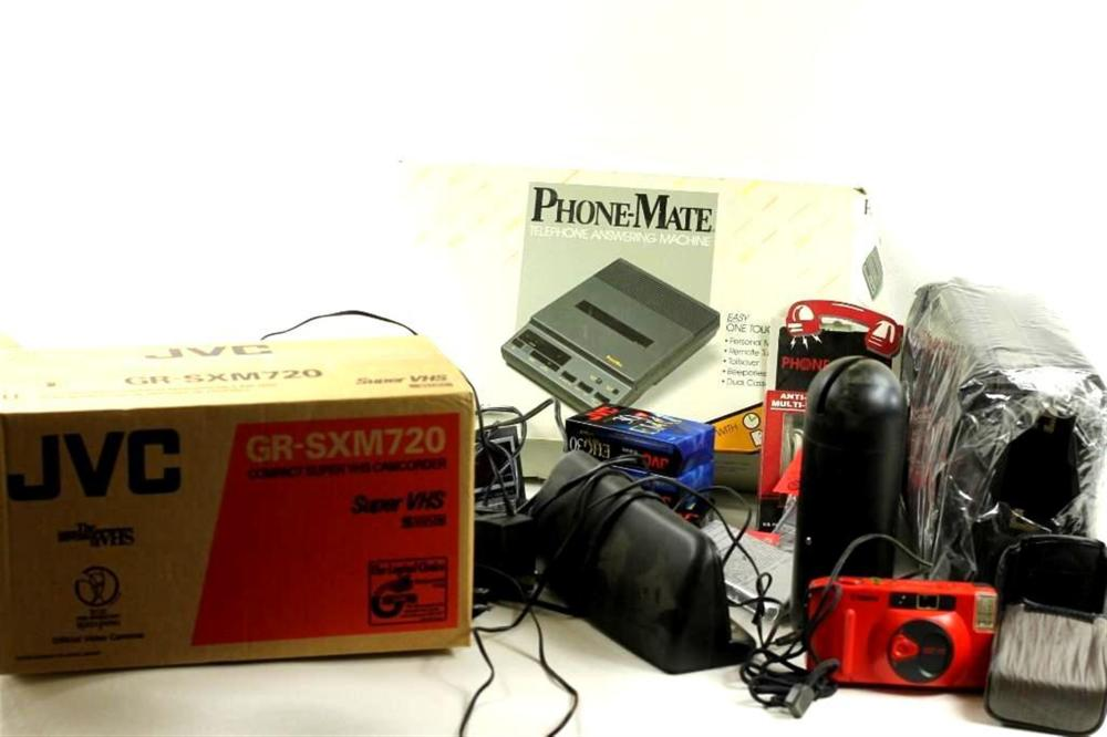 Lot of Electronics incl JVC Camcorder NOS, a Red Canon Snappy Camera, a Phone-Mate, etc