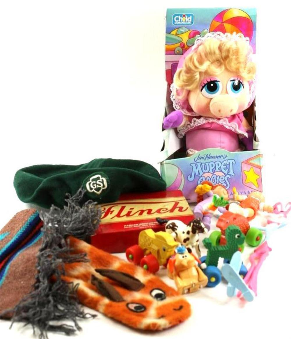 Lot of Toys incl Vintage Hand Puppet, Vintage Flinch Game, Miss Piggy Muppet Baby, Girl Scout Hat