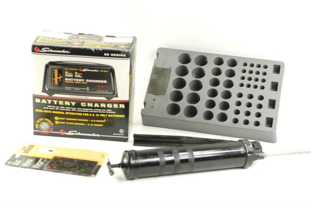 Battery Charger, Battery Tester, Grease Gun