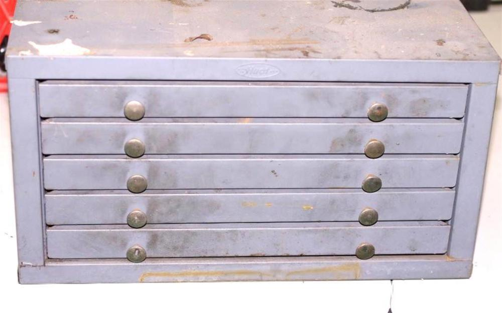 Metal Tool Box with Drill Bits