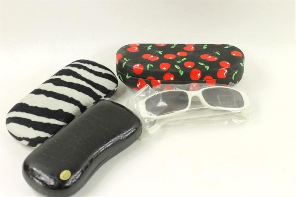 3 Glasses Cases and a Pair of Sunglasses with Cherries on the Bows