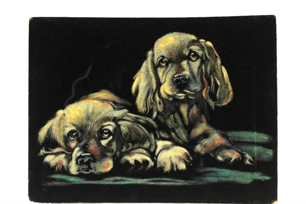 Puppies Painted on Velvet