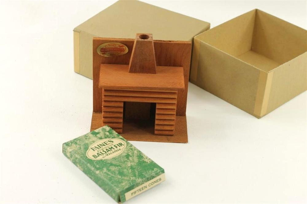 Vintage Log Fireplace Incense Burner in Original Box w/ Incense