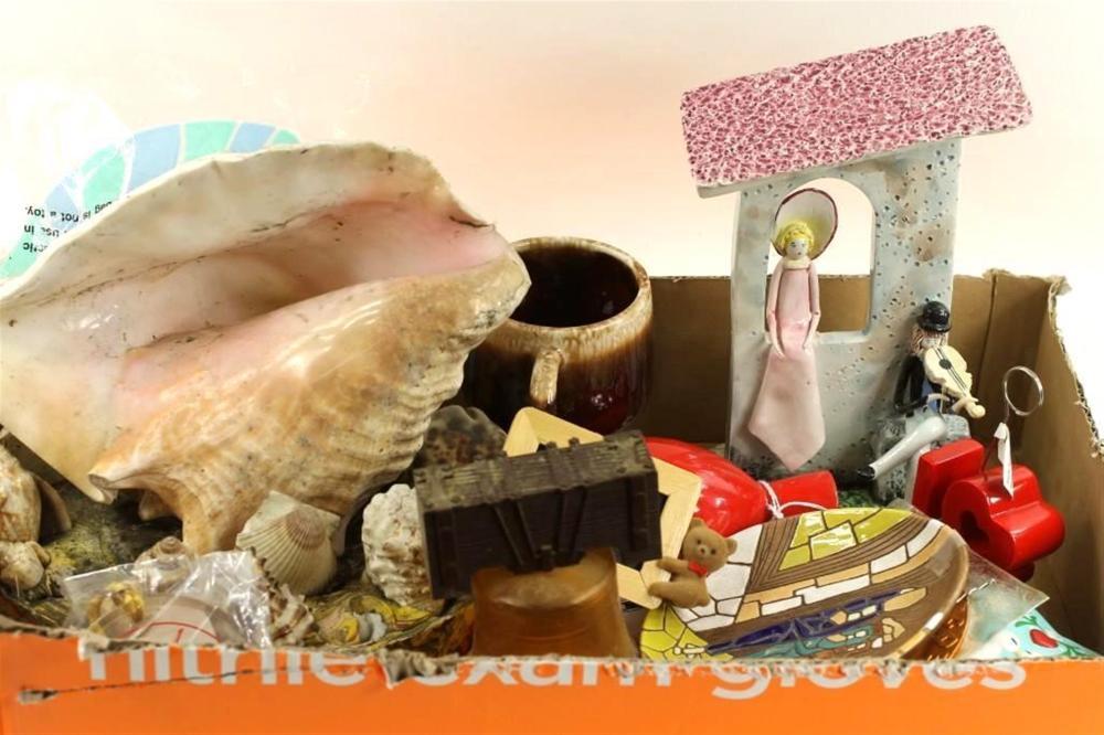 Mixed Lot incl Shells, McCoy Pottery Mug, etc
