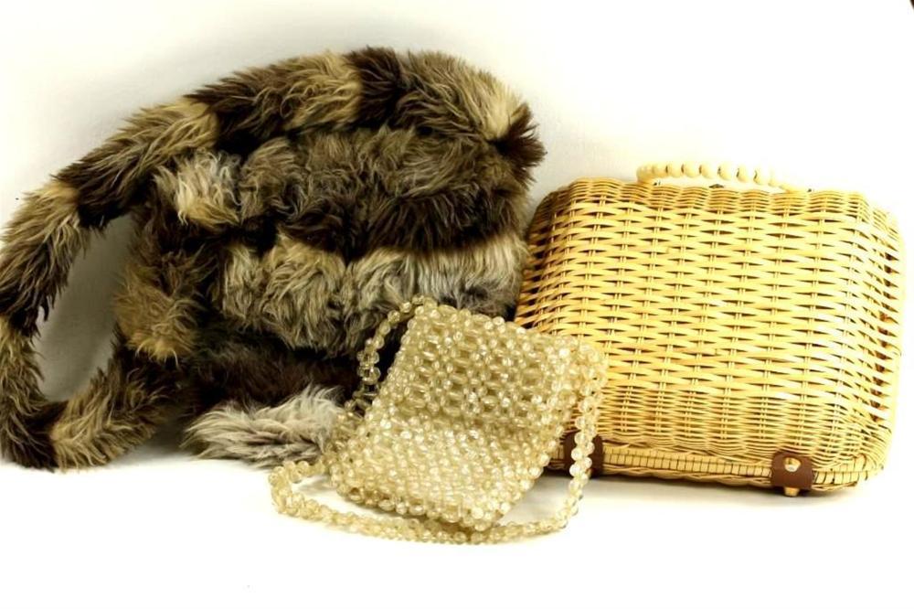 3 Vintage Purses, 1 Faux Fur, 1 Beaded, and 1 Basket Weave