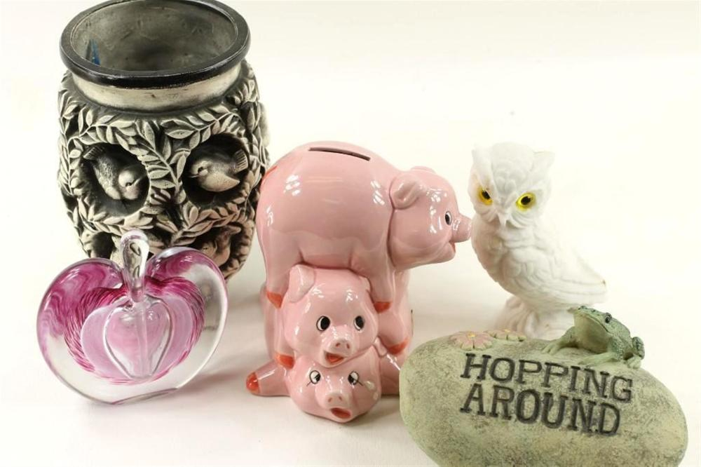 Lot incl Glass Paperweight, Bird Vase, Piggy Bank, Avon Owl, and Frog