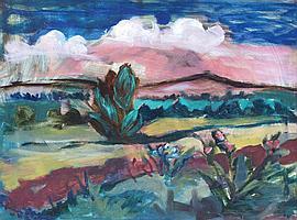 Charles Messent Landscape Enamel paint on board 63