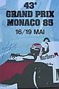 Anon Monaco Grand Prix 1985 Re-issued poster 99 x