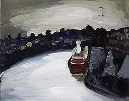 Charles Messent (1911-71) Harbour Scene Enamel