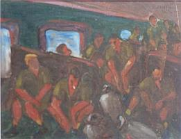 Charles Messent (1911-71) Figures on a Train Oil