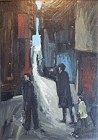 Charles Messent (1911-71) Figures on a Street