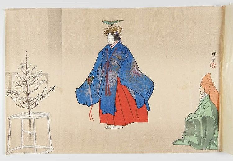 Tsukioka Kogyo, oban yoko-e, acteur de théâtre Nô. 1890.