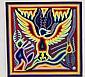Vintage Huichol Yarn Painting Eagle Figure, Signed